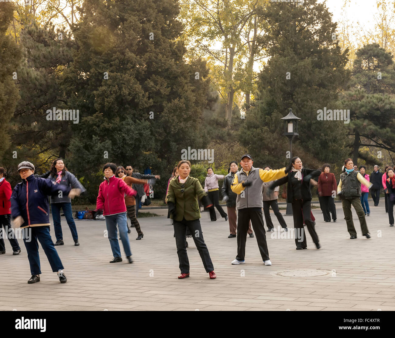 Early morning exercise in the garden of the Temple of Heaven in Beijing;China - Stock Image