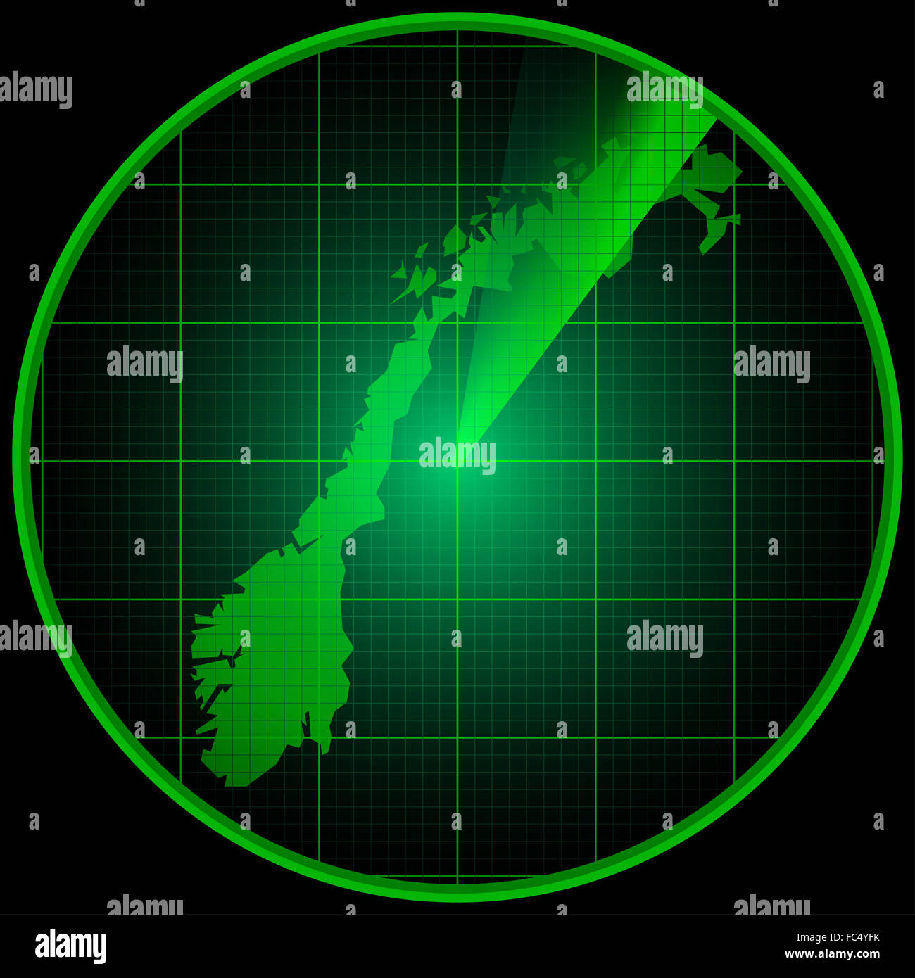 Radar screen with the silhouette of Norway - Stock Image