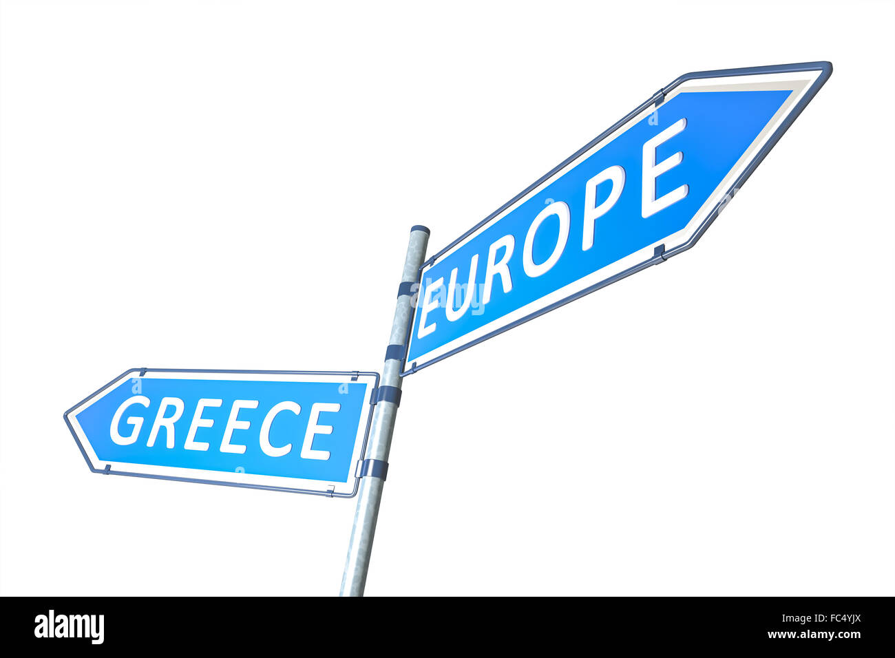 Greece Europe Road Sign - Stock Image