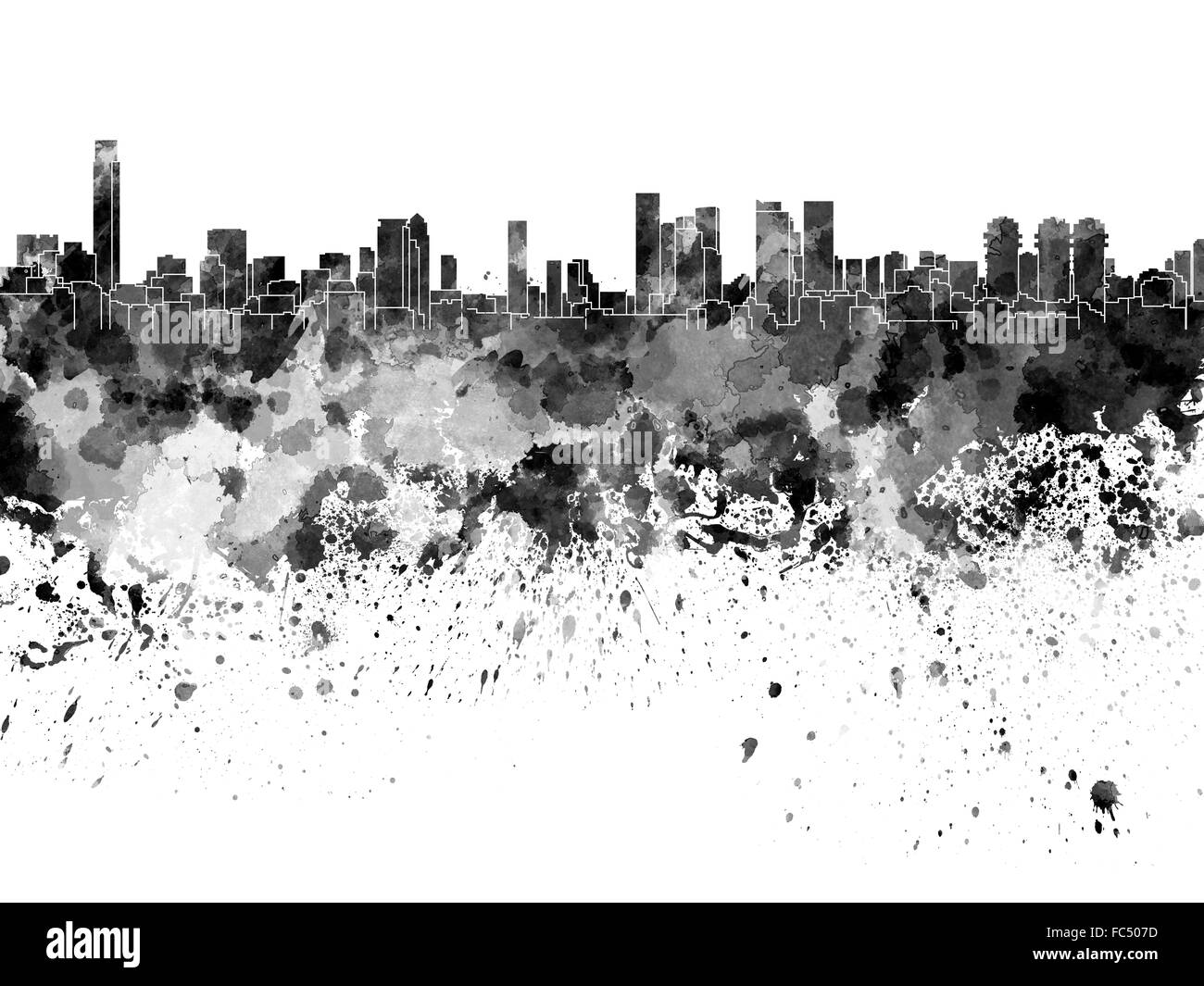 Tel Aviv skyline in black watercolor on white background - Stock Image