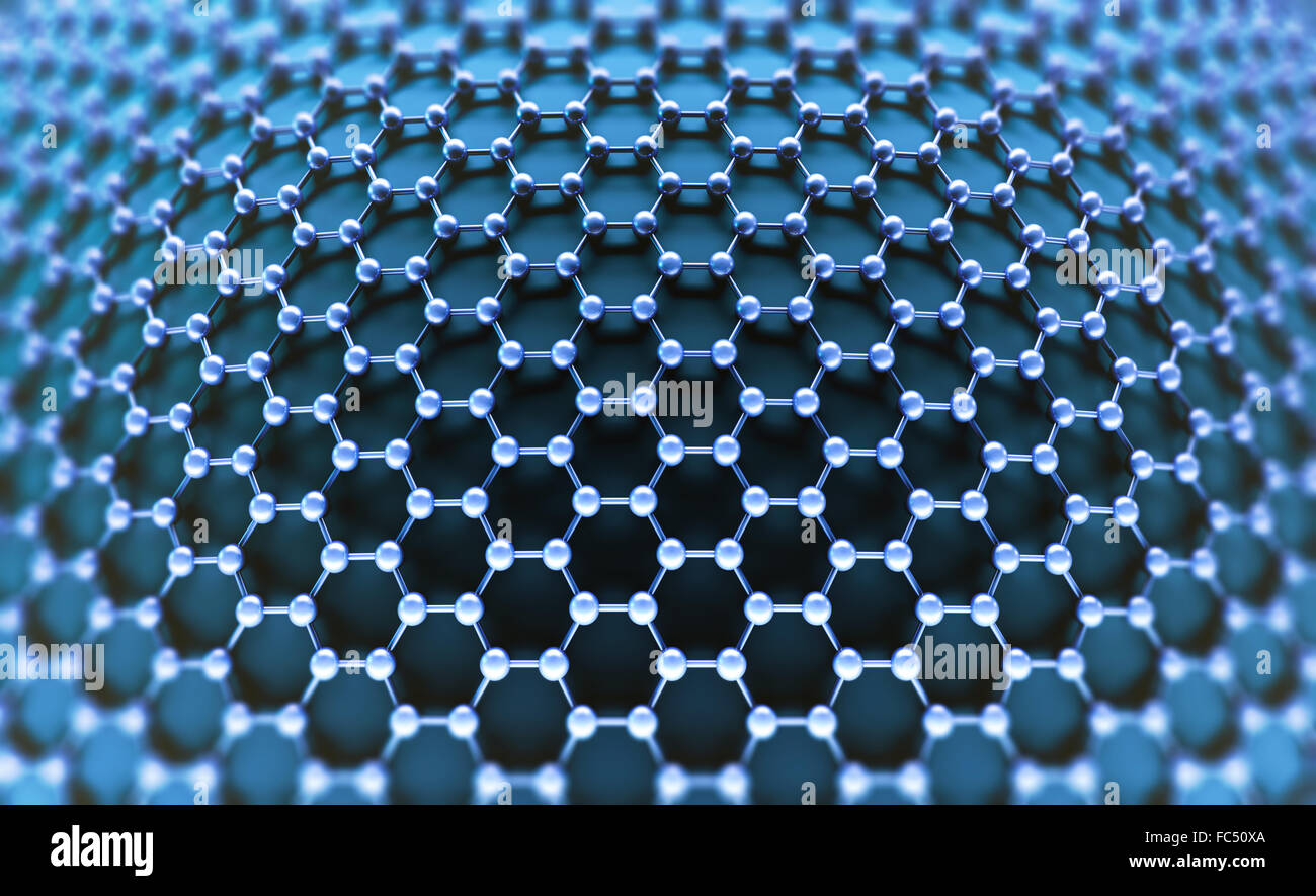Several molecules connected, crystallized in the hexagonal system, concept of a carbon structure. - Stock Image