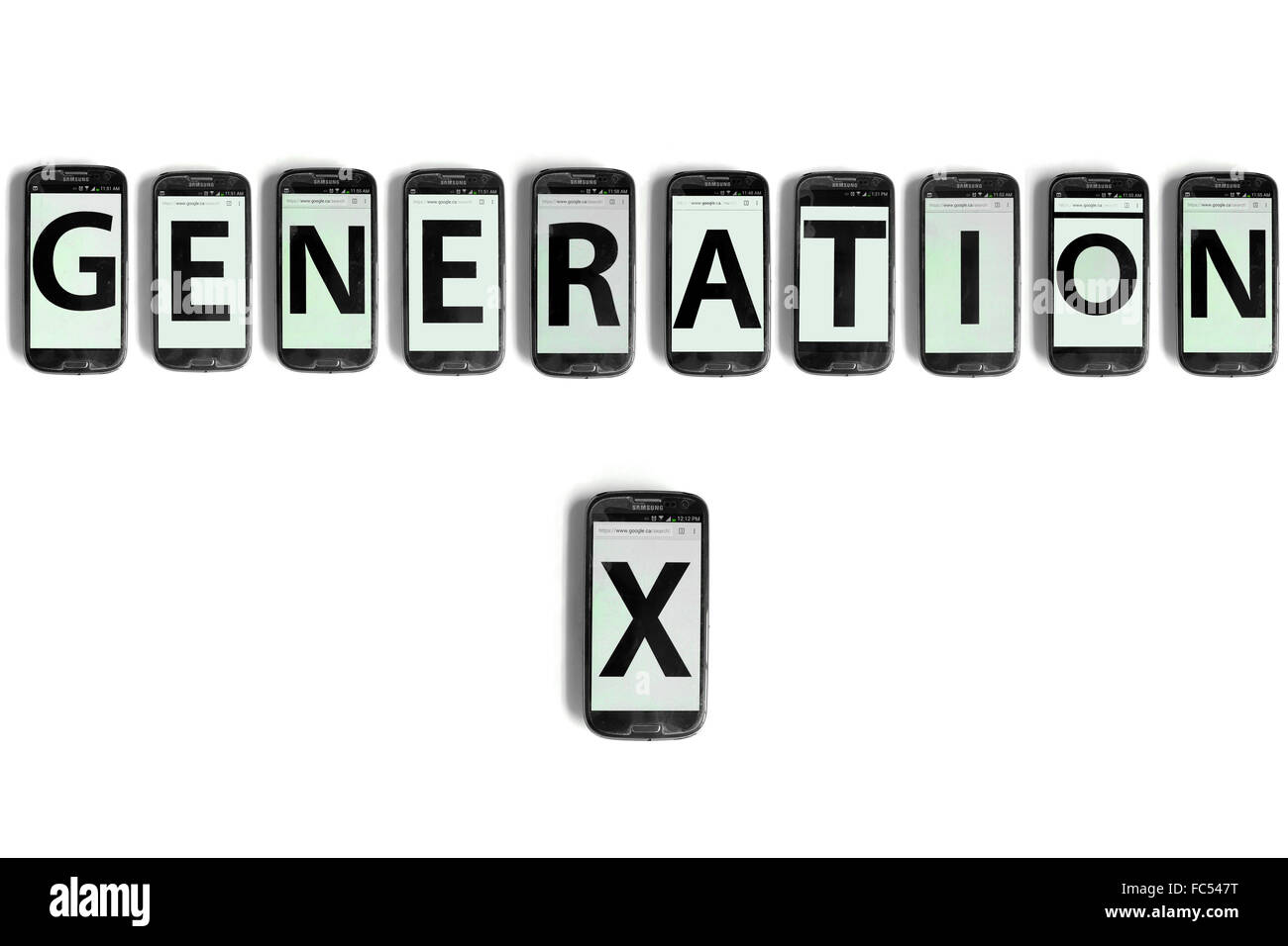 Generation X written on the screens of smartphones photographed against a white background. - Stock Image
