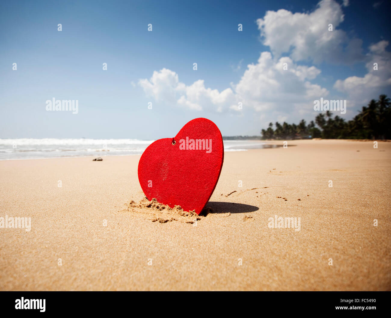 Red Heart On Exotic Sandy Beach Valentine S Day Concept Stock