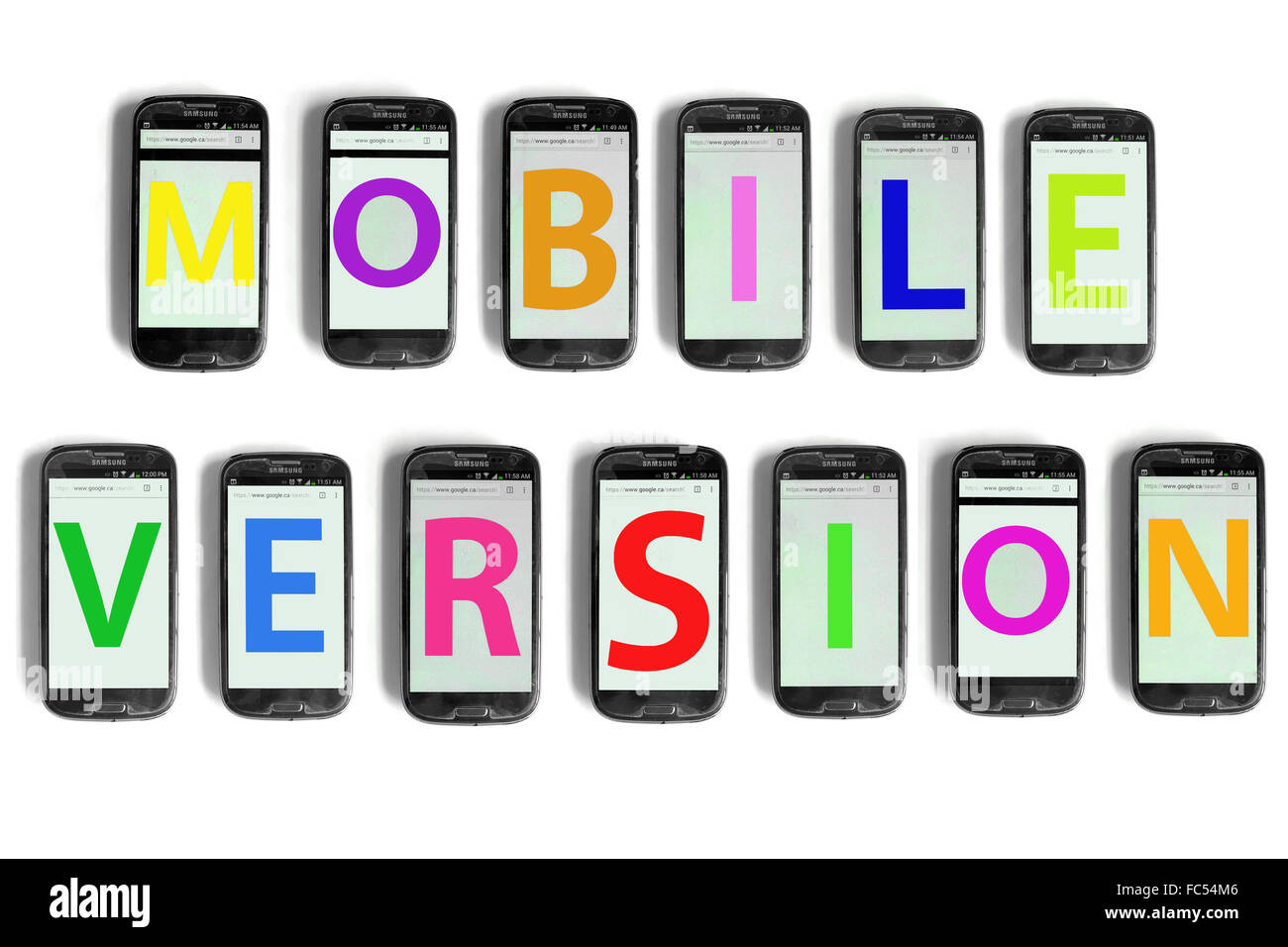 Mobile Version written on the screens of smartphones photographed against a white background. - Stock Image