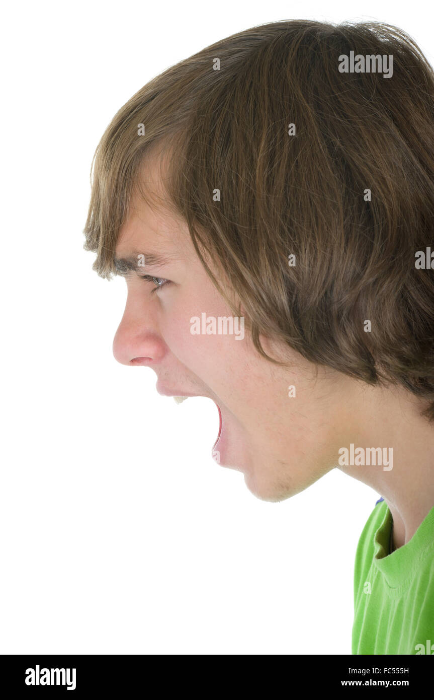 Teenager loudly shouts - Stock Image