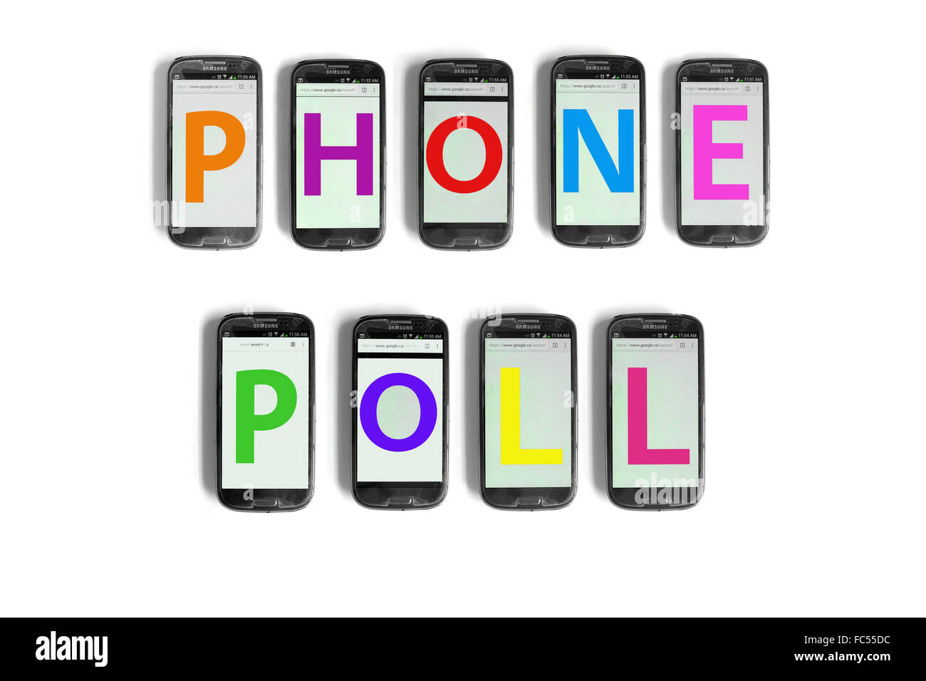 Phone Poll written on the screens of smartphones photographed against a white background. - Stock Image