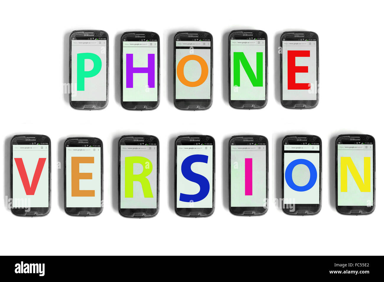Phone Version written on the screen of smartphones photographed against a white background. - Stock Image