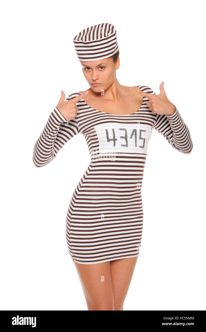 woman in striped dress for prisoners - Stock Image