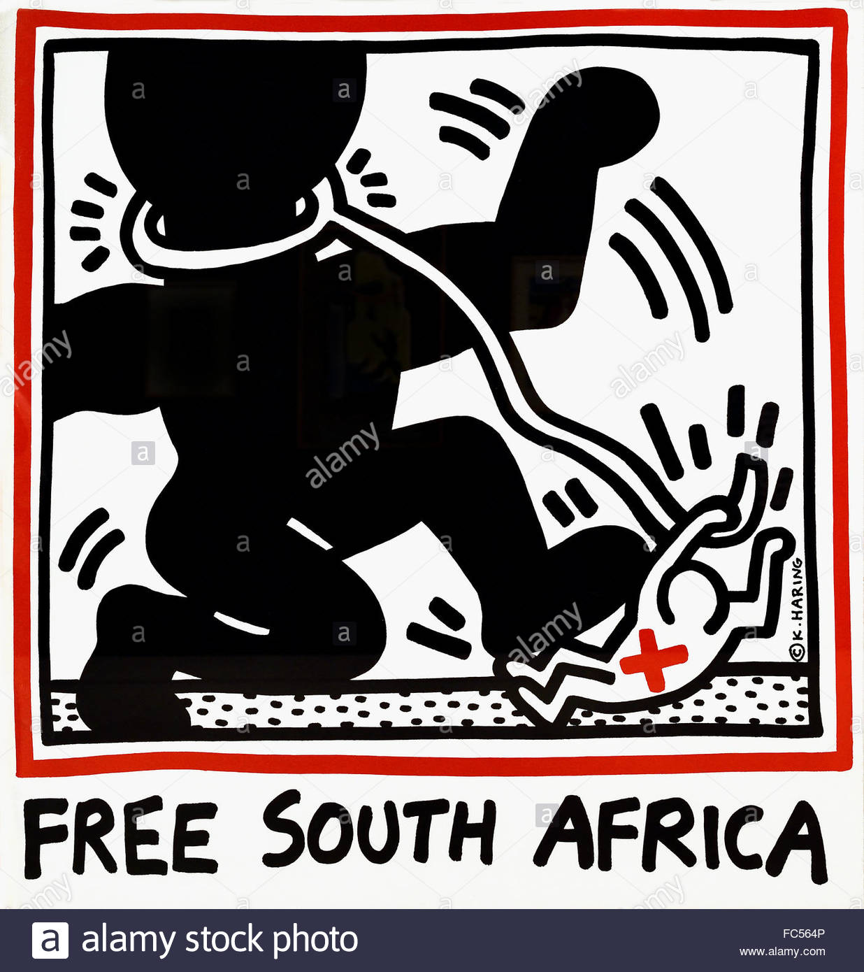 Free South Africa by Keith Haring   American United States of America - Stock Image