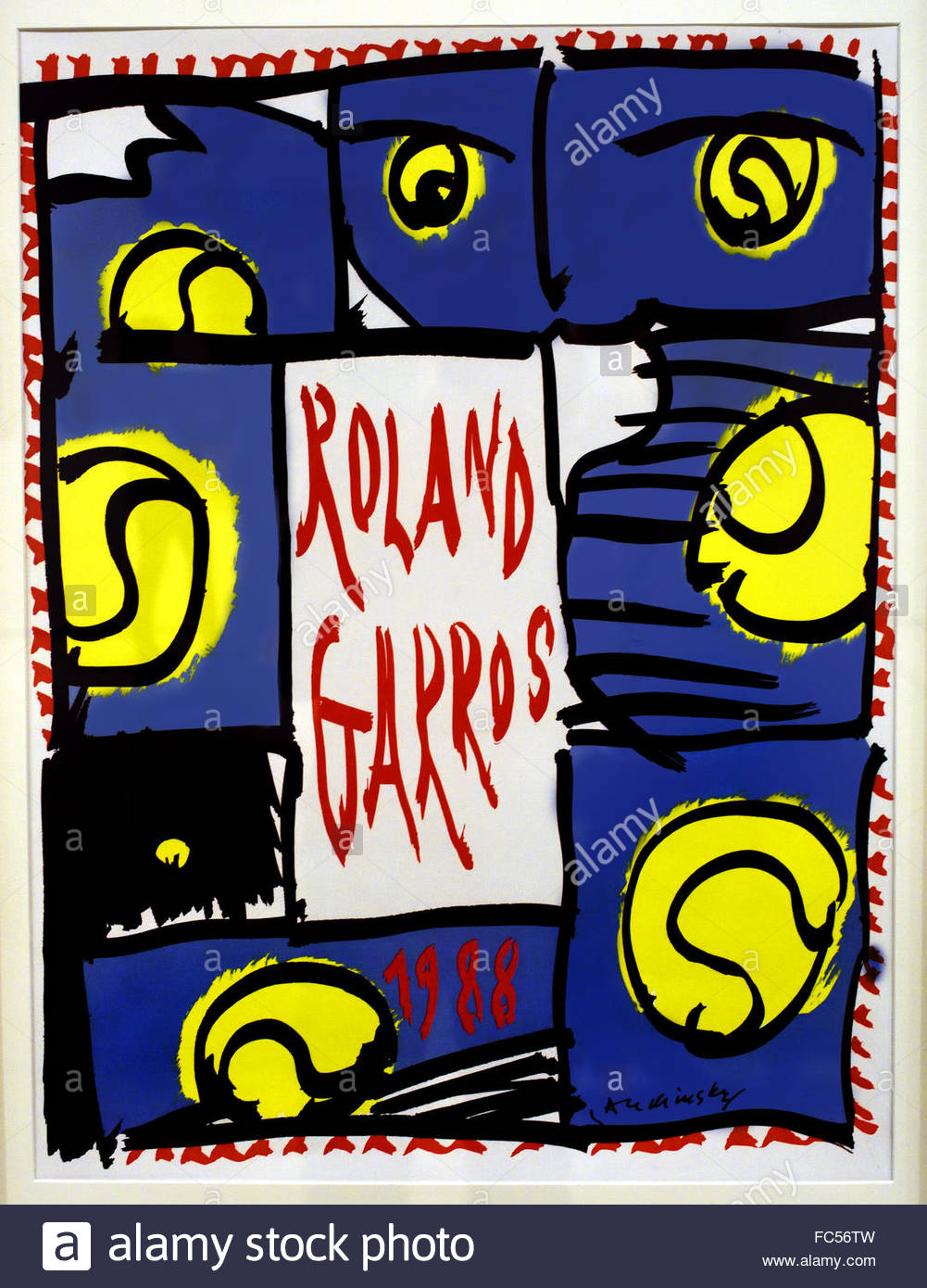 Rolland Garros 1988 Pierre Alechinsky  1927 Belgian Belgium The French Open tennis tournament held over two weeks - Stock Image