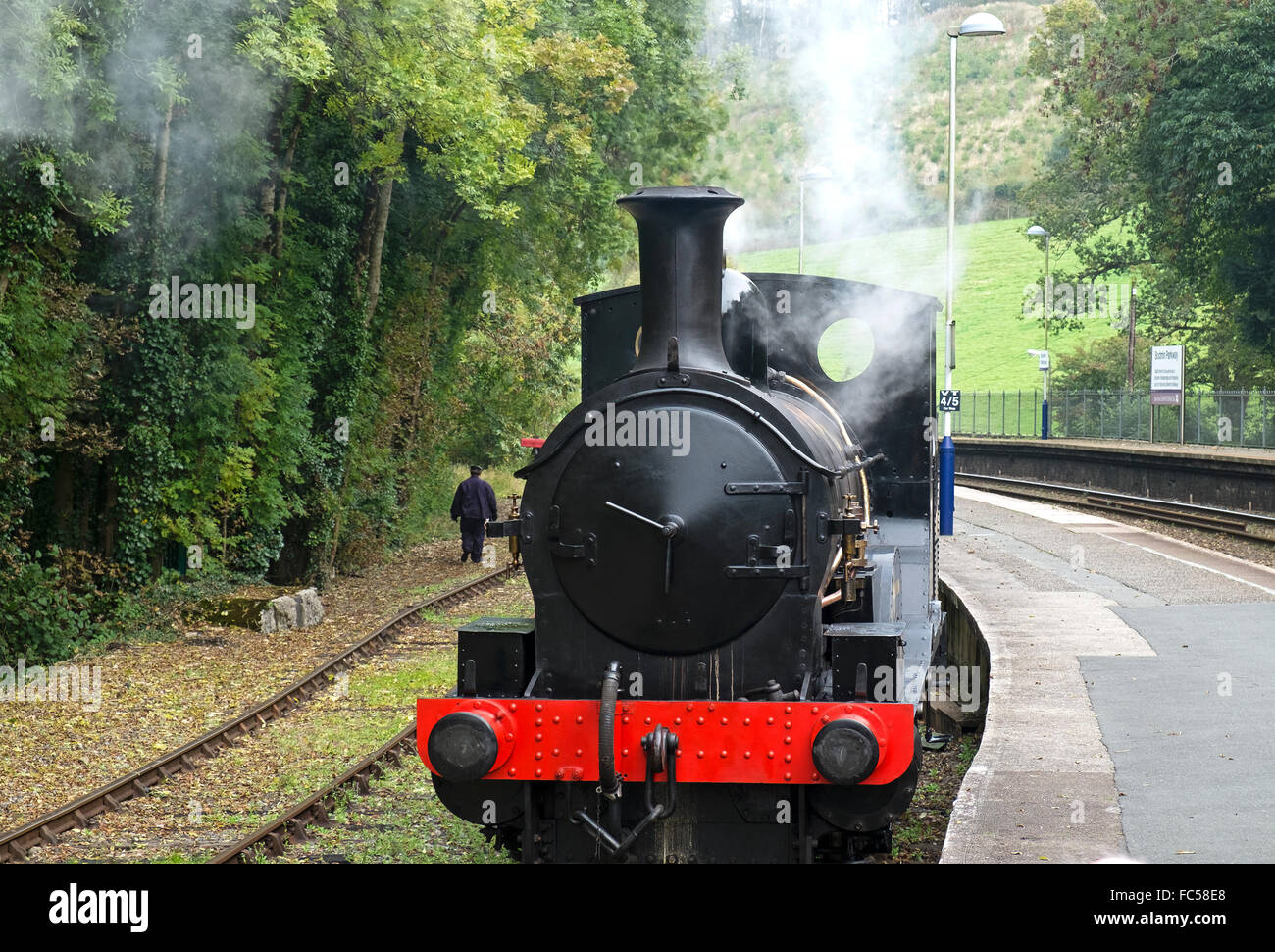 Steam engine at he Bodmin and Wenford steam railway, Cornwall, UK - Stock Image