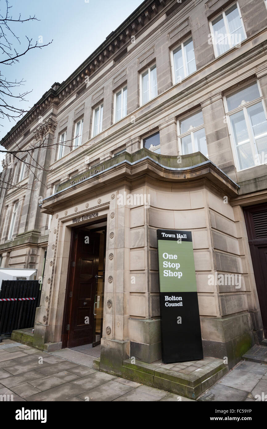 Bolton Council offices Town Hall, Bolton, Lancashire, UK - Stock Image