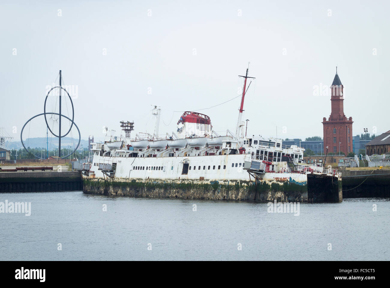 The Tuxedo Royale, former floating nightclub, moored  on river Tees in Middlesbrough. UK - Stock Image