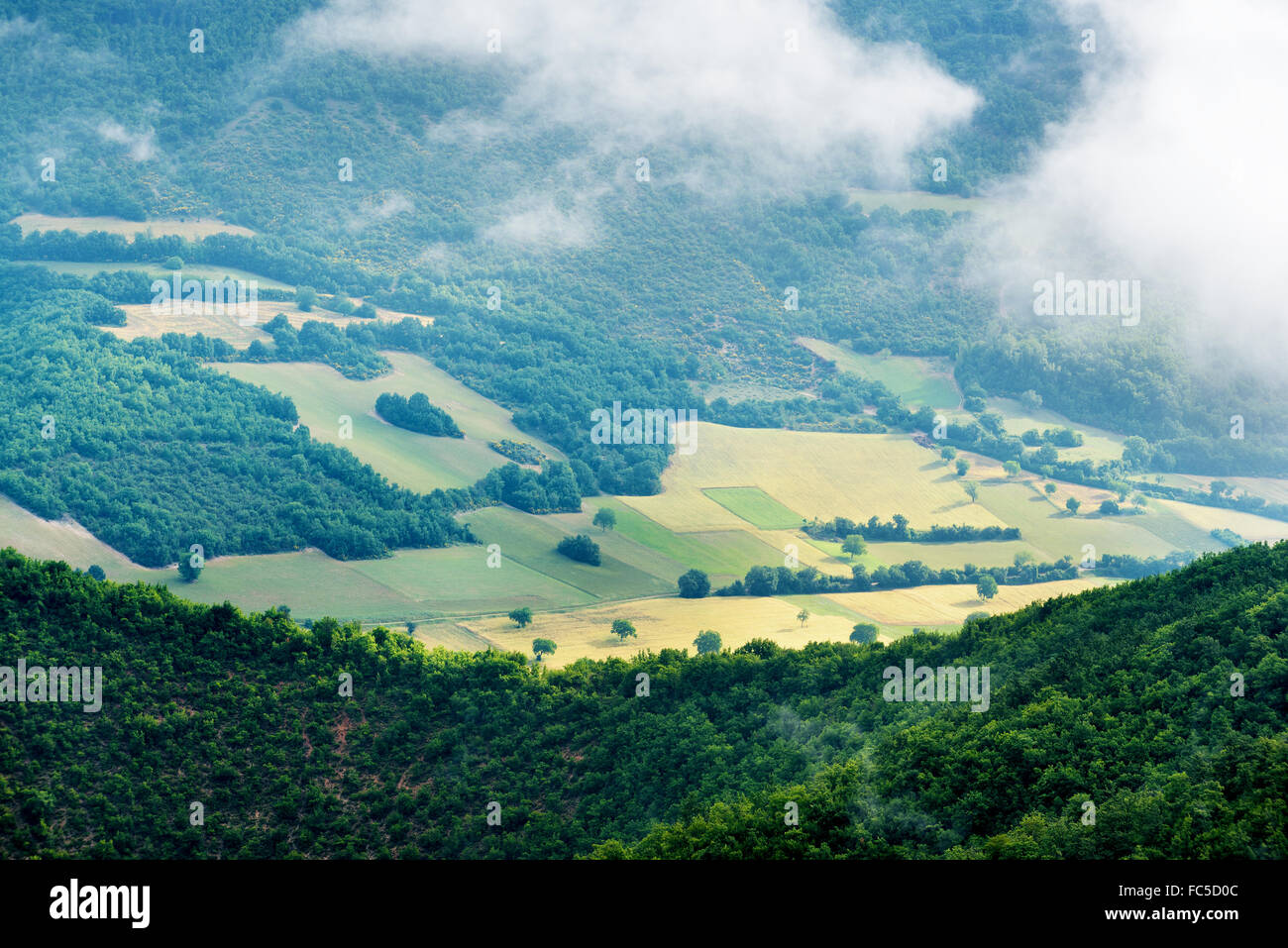 Foggy view of the park Monti Sibillini - Stock Image