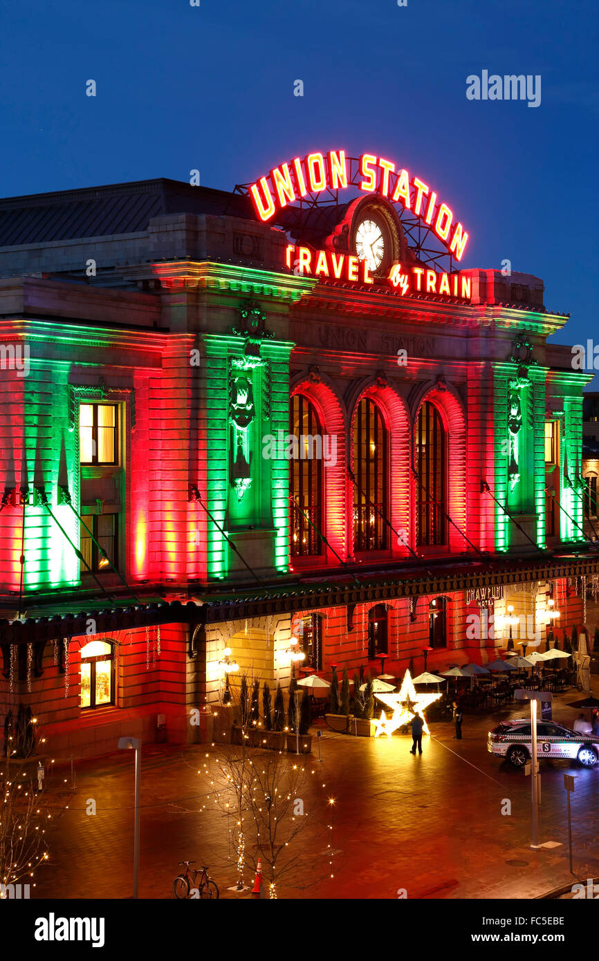 Christmas In Denver Colorado.Union Station Decorated With Christmas Holiday Lights