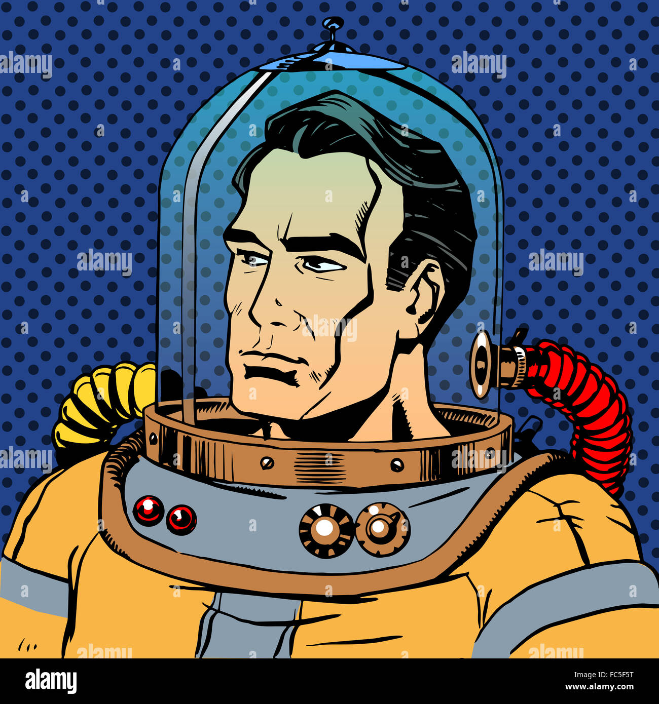 Manly man astronaut in a spacesuit - Stock Image