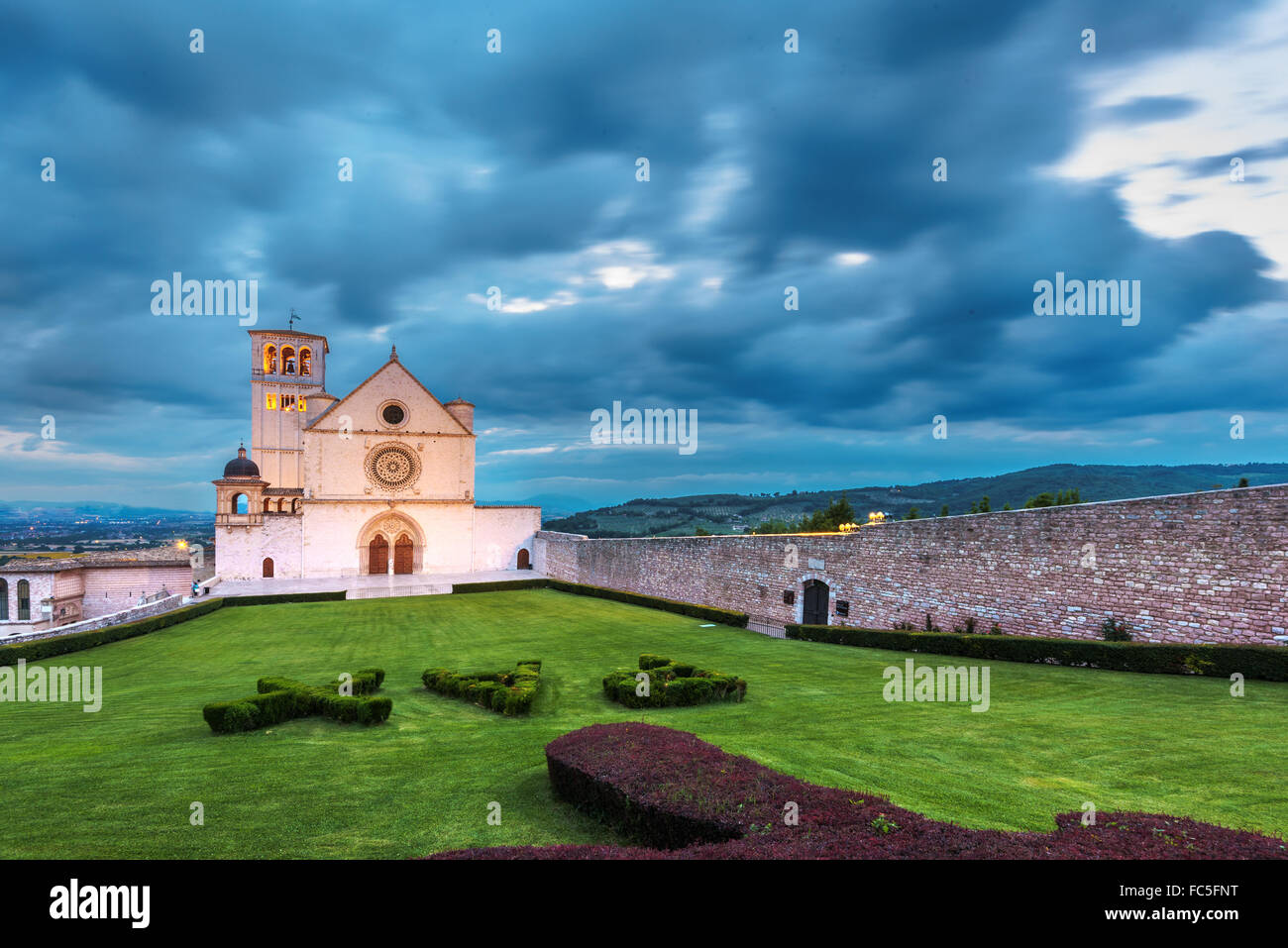 Basilica of St. Francis of Assisi in Umbria, Italy - Stock Image
