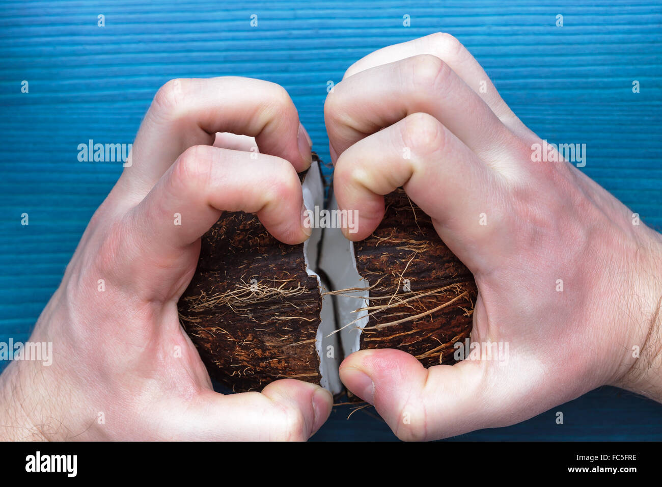 angry man breaks a coconut walnut into two halves - Stock Image