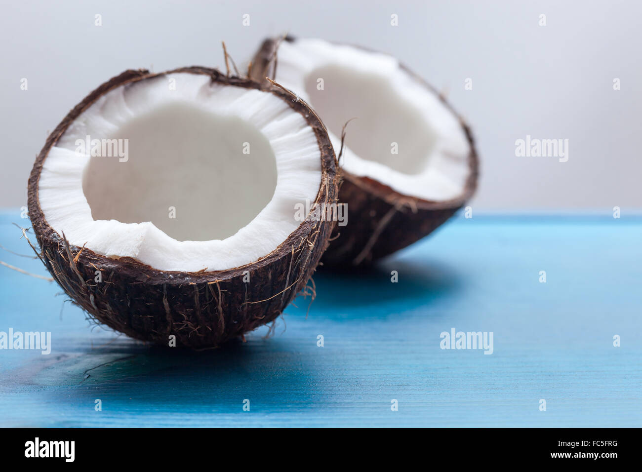 Delicious coconut with white coconut pulp - Stock Image