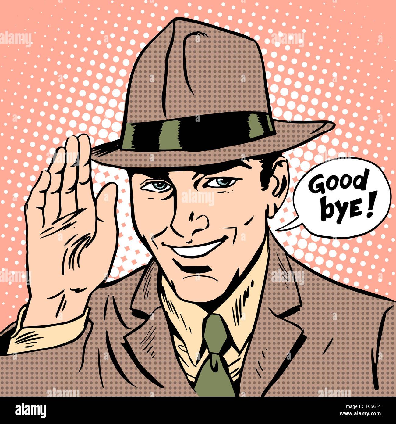 Courtesy the man says goodbye - Stock Image