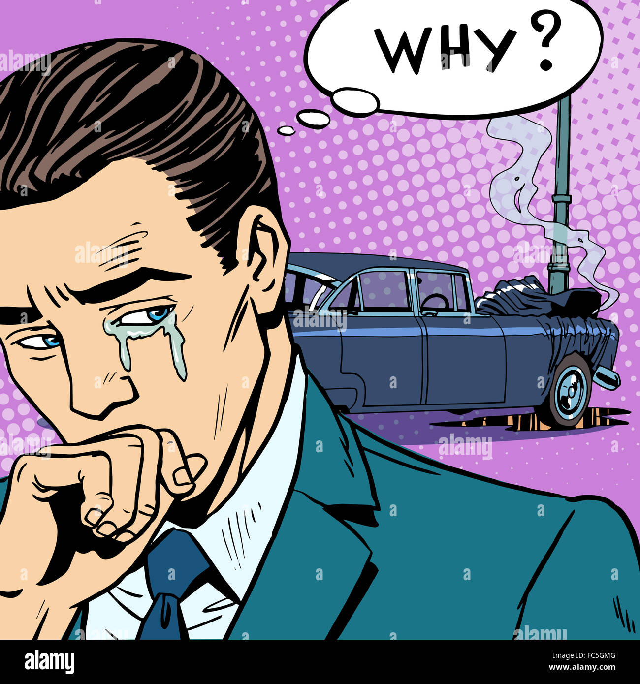 Man cries car accident - Stock Image
