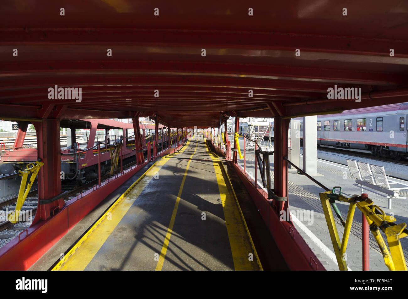 row of empty car train waggons - Stock Image