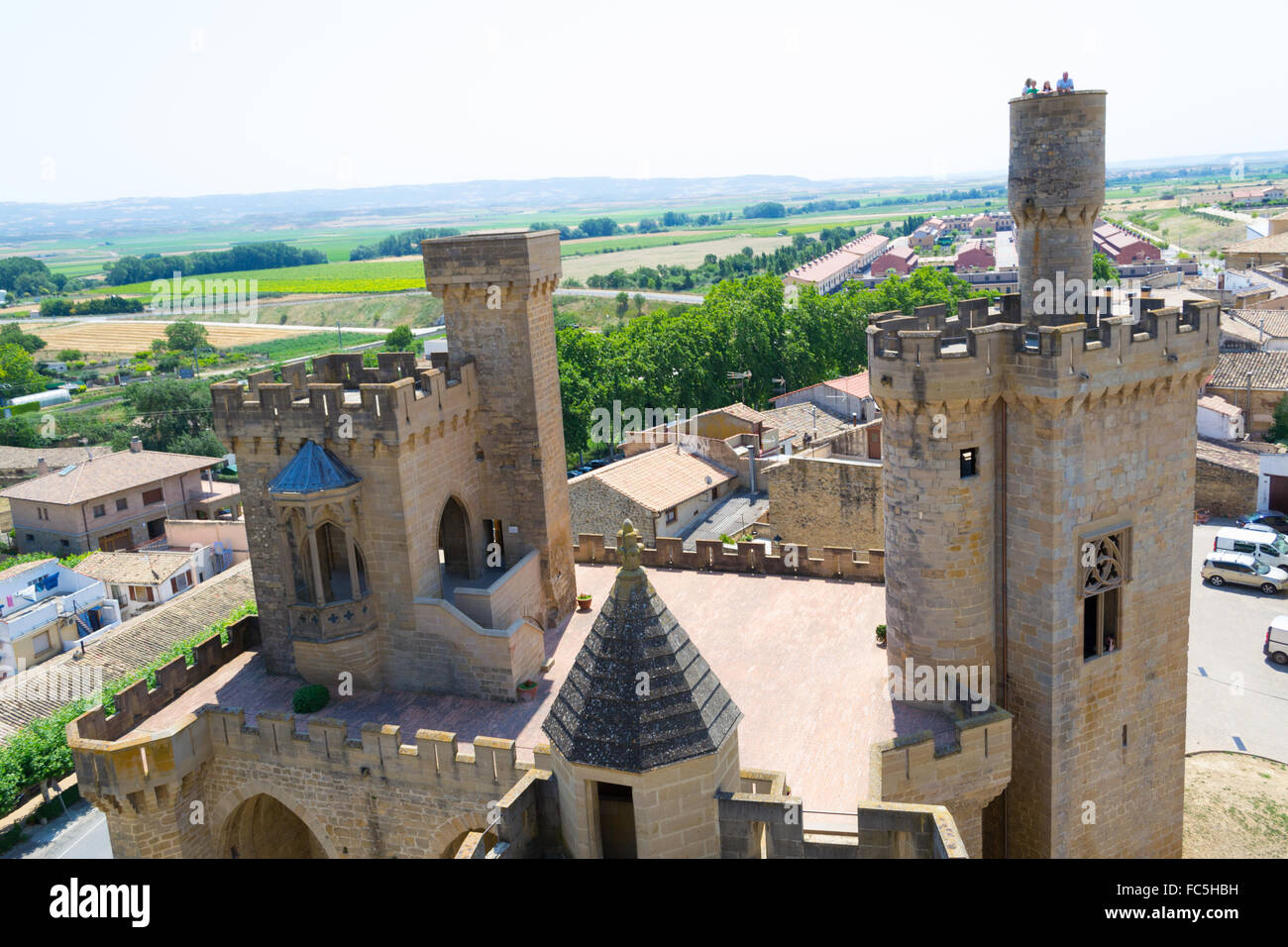 Observing Olite from the Castle - Stock Image