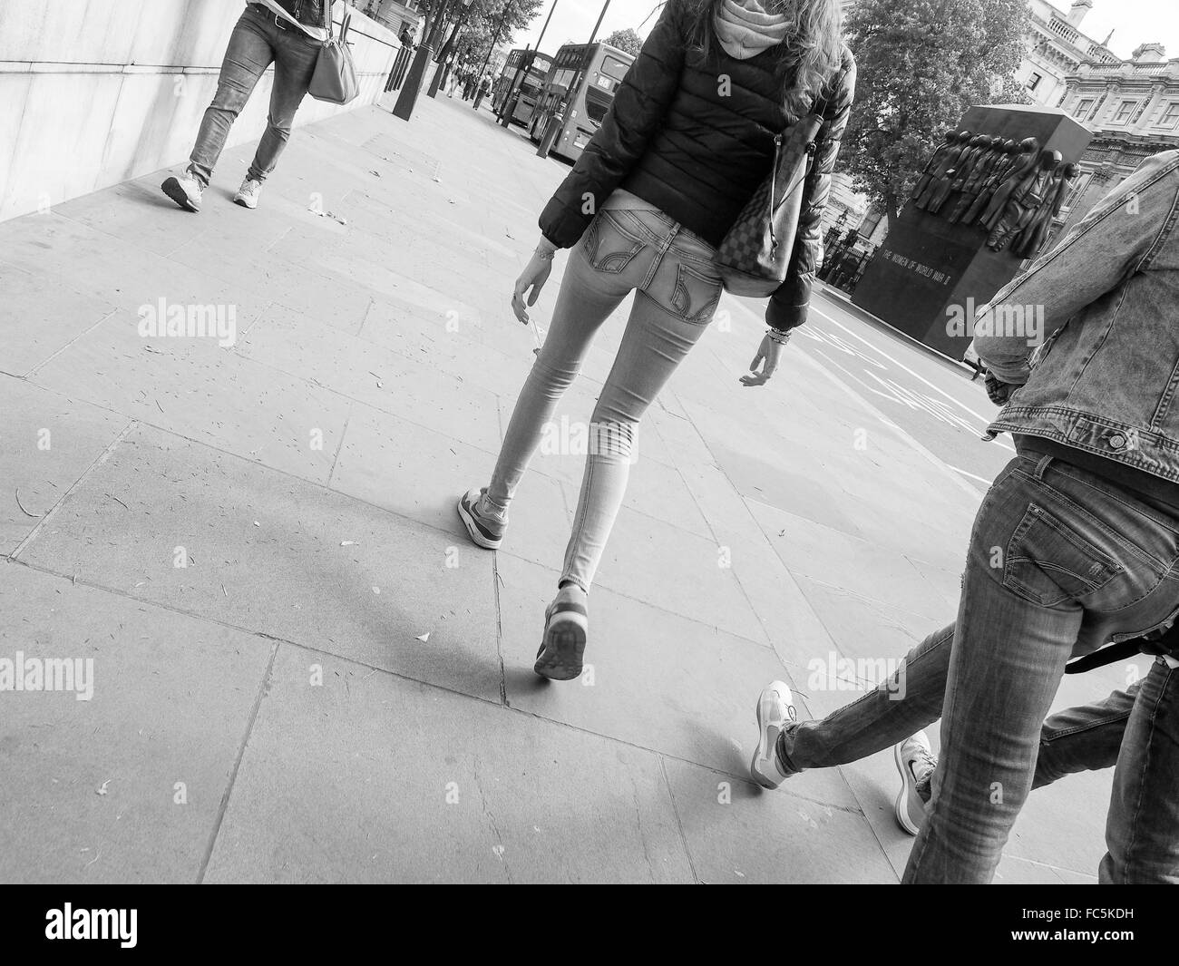 Black and white People walking - Stock Image