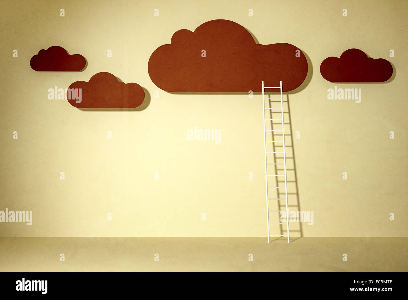 clouds and ladder - Stock Image