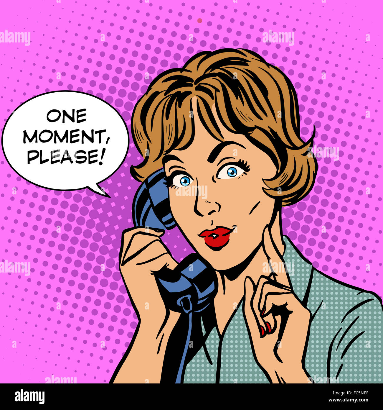 One moment please woman speaks phone - Stock Image