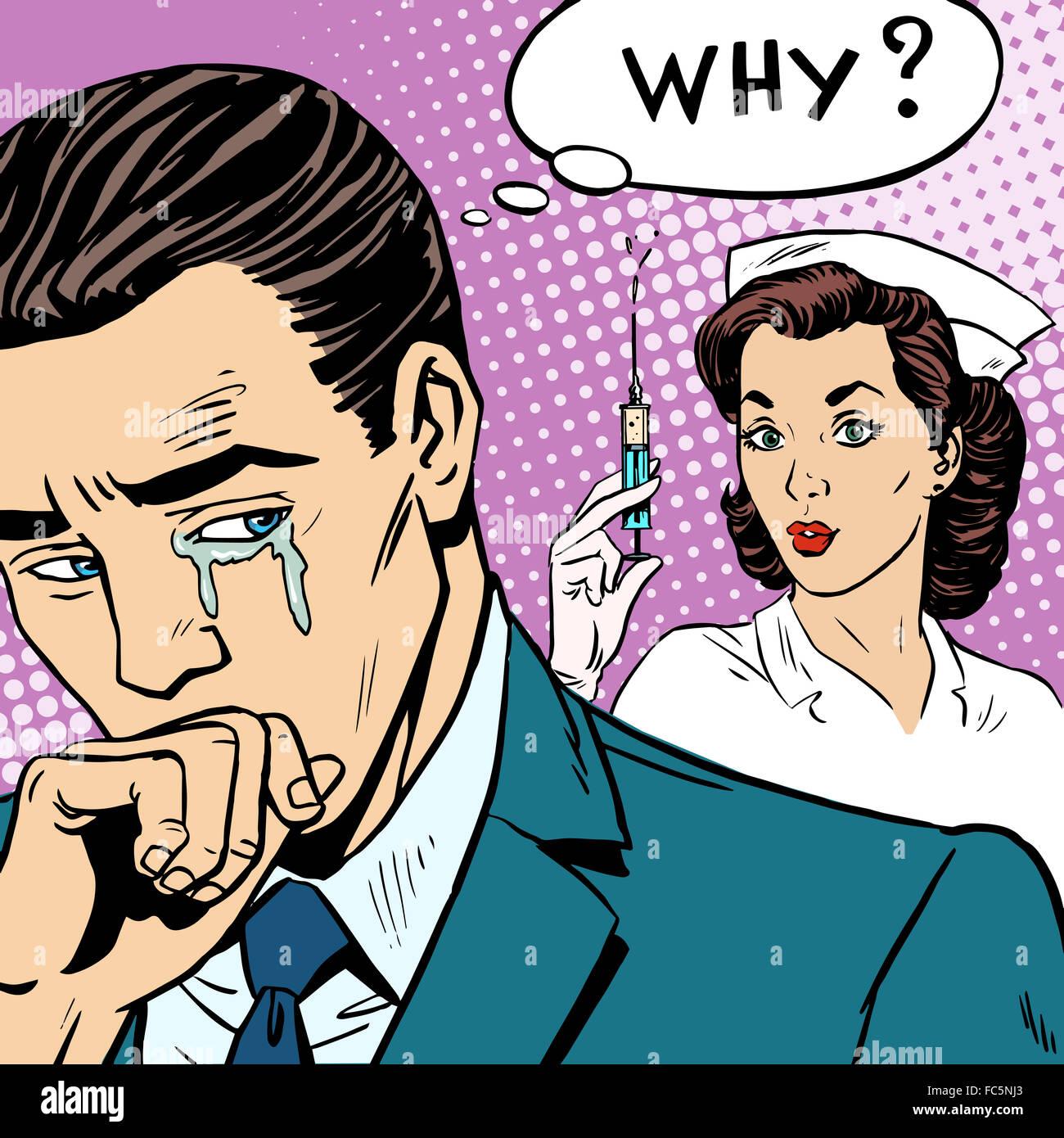 Illness medicine injection syringe man cry - Stock Image