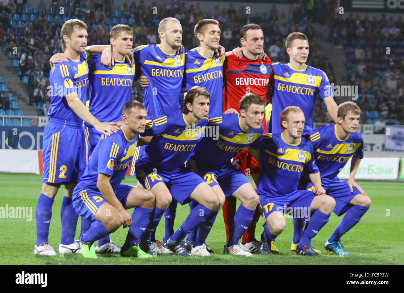 KYIV, UKRAINE - SEPTEMBER 16: FC BATE Borisov team pose for a group photo before UEFA Europa League game against - Stock Image
