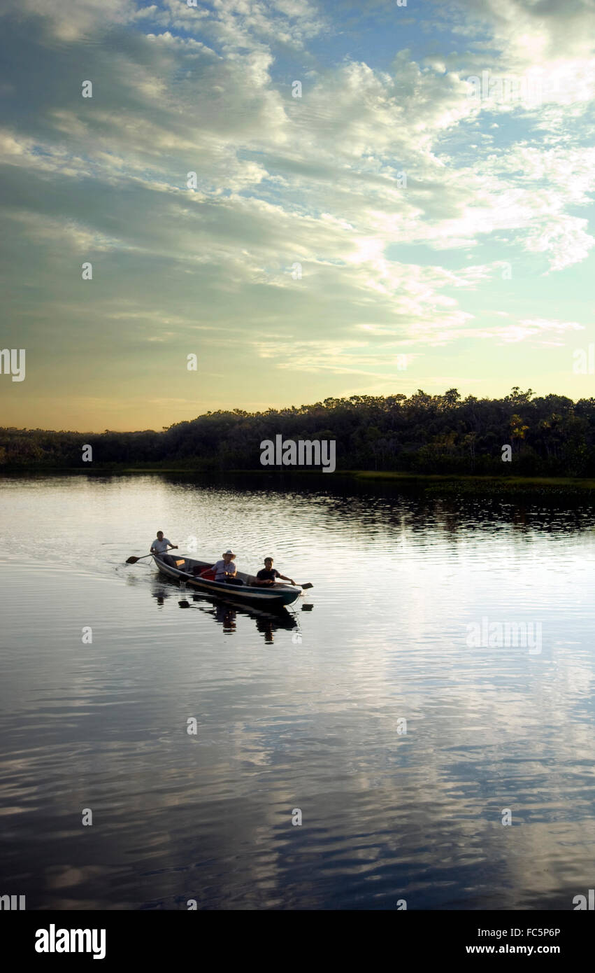 Canoe in the Amazon River in Ecuador - Stock Image