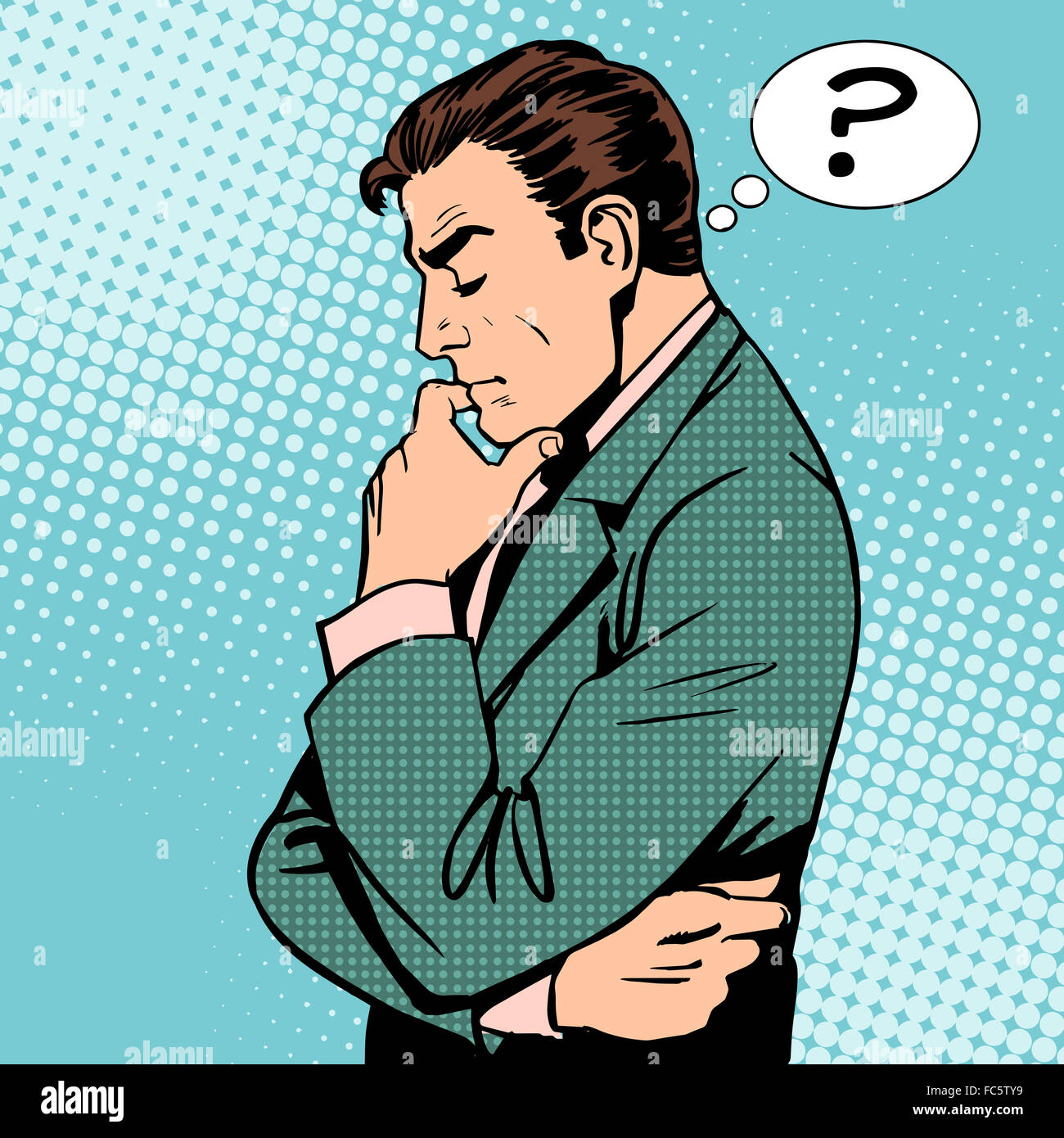 Thinking businessman questions - Stock Image