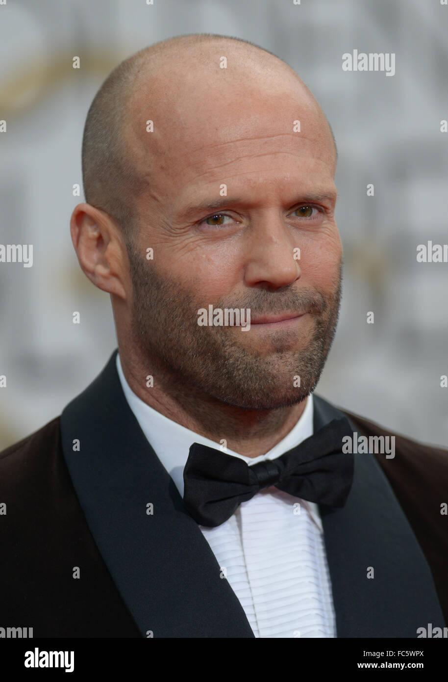 Jason Statham arrives at the Golden Globe awards. Stock Photo