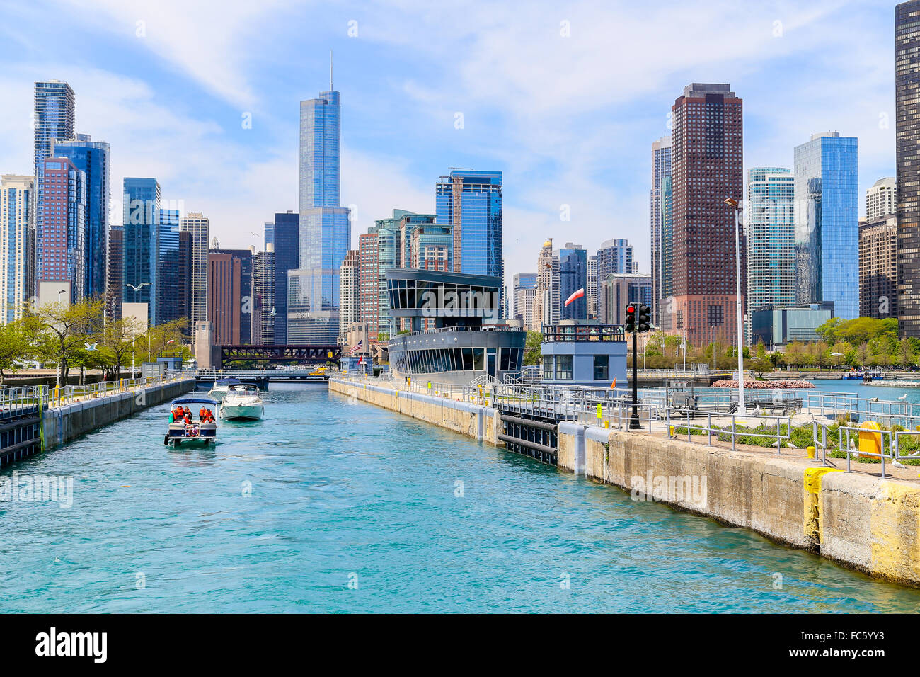 Boats in Chicago lock Stock Photo