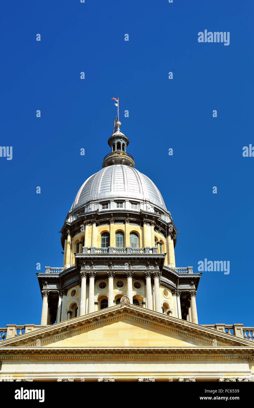 The State Capitol Building in Springfield, Illinois. The capitol was built in the French Renaissance architectural - Stock Image