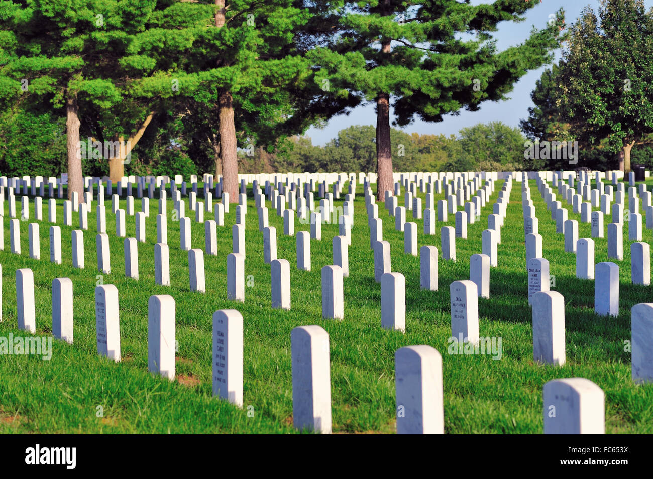 Rows of markers define final resting place for soldiers at Camp Butler National Cemetery in Springfield, Illinois, - Stock Image