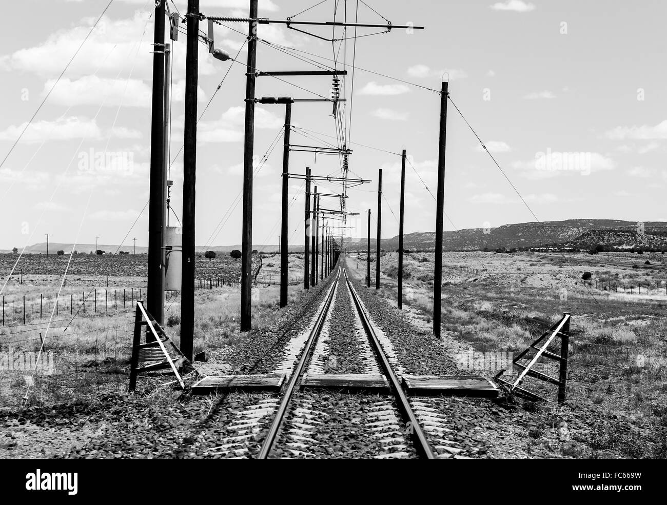 Railroad tracks in monochrome - Stock Image