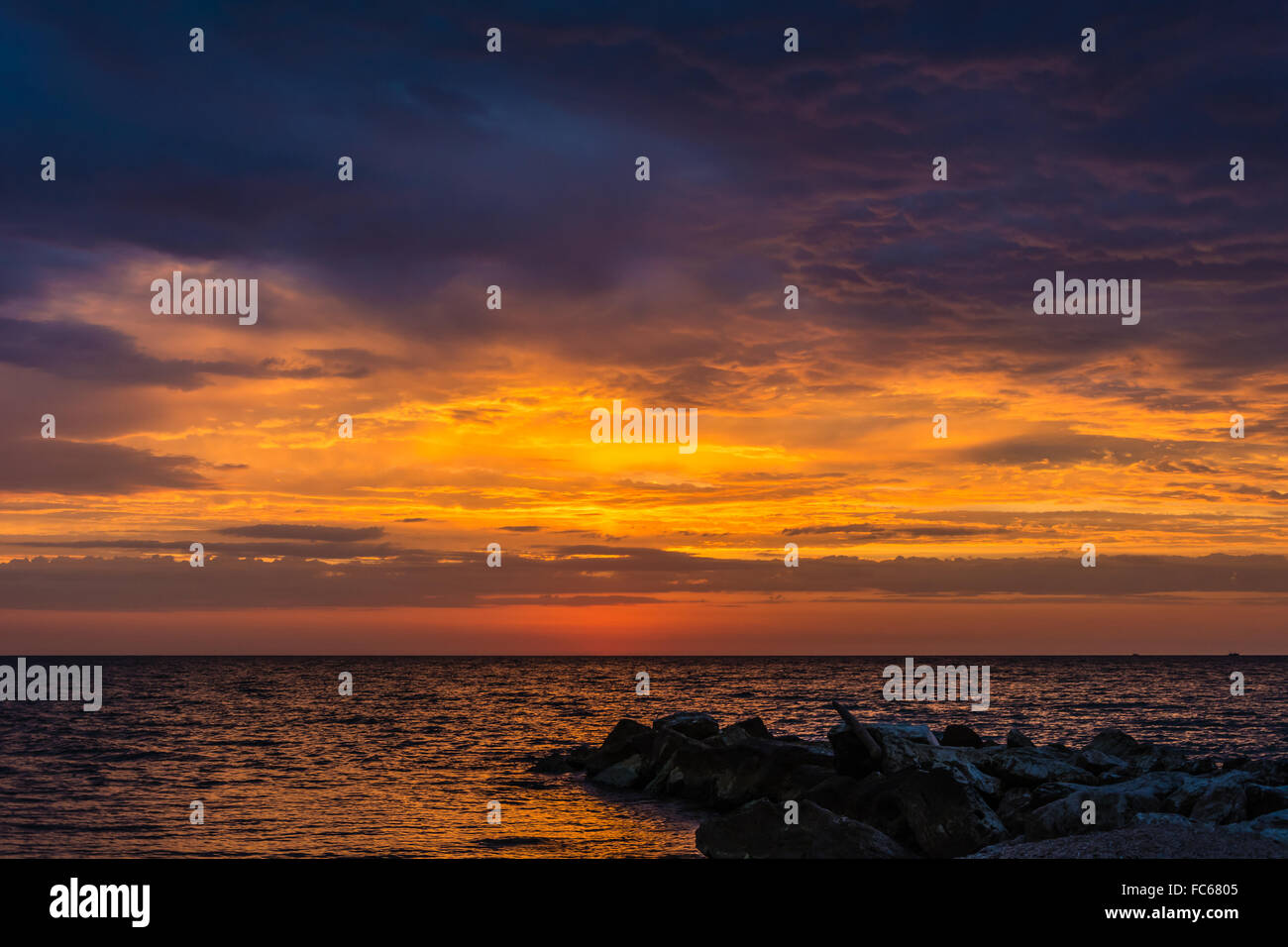 Late summer dawn - Stock Image