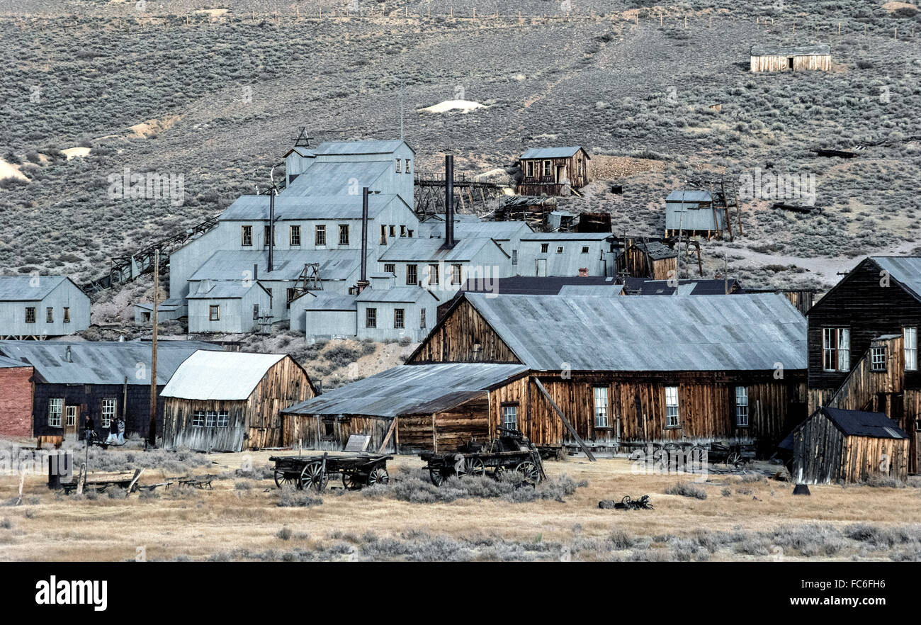 Visitors can explore a famous California ghost town called Bodie, which gained fame and fortune in the 1870s because Stock Photo