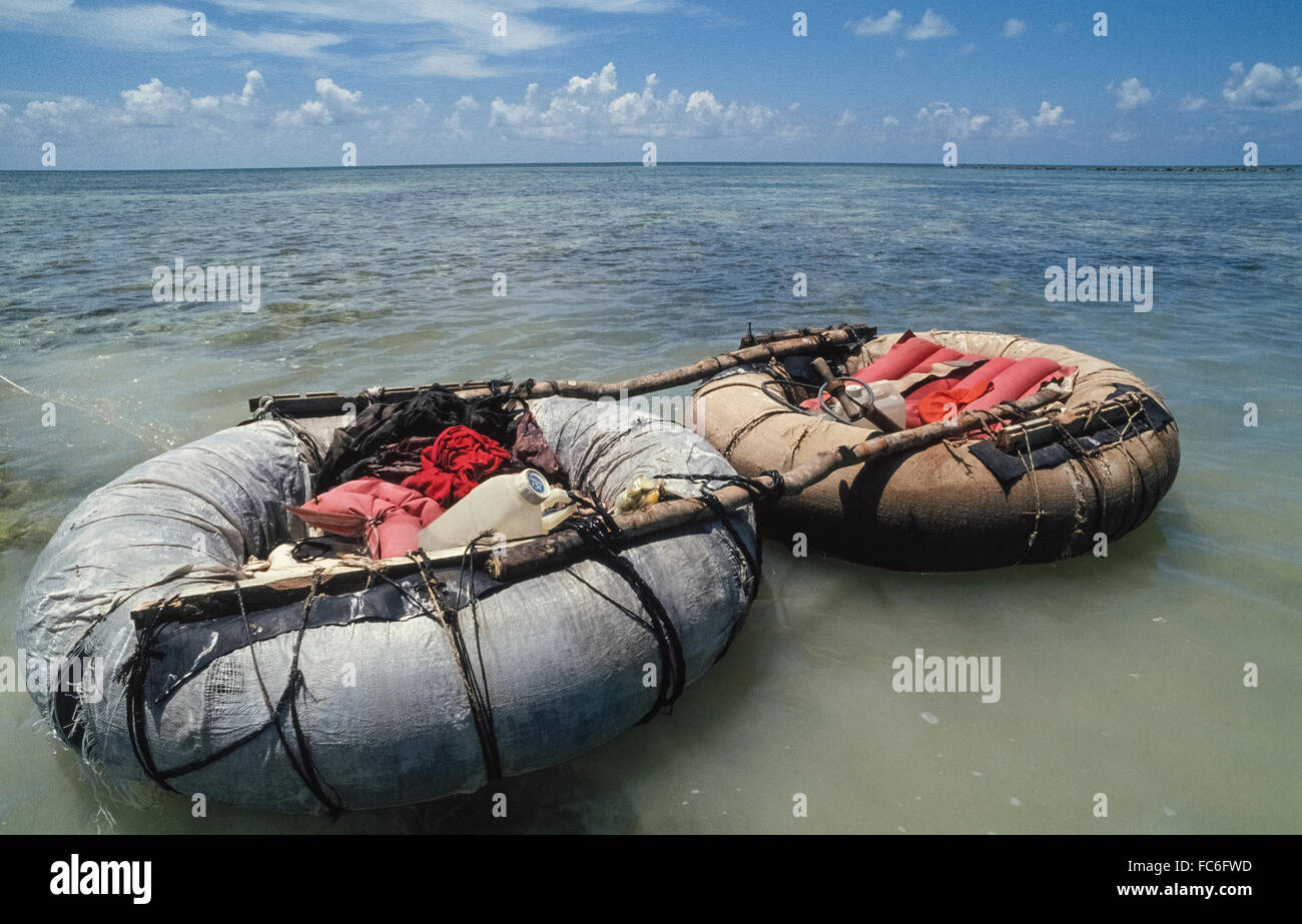 Refugees from Cuba abandoned this makeshift raft after making a 90-mile ocean journey to reach the United States - Stock Image