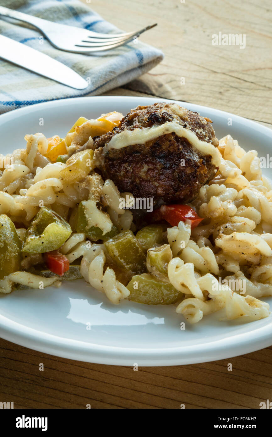 pasta and meatballs with vegetables - Stock Image
