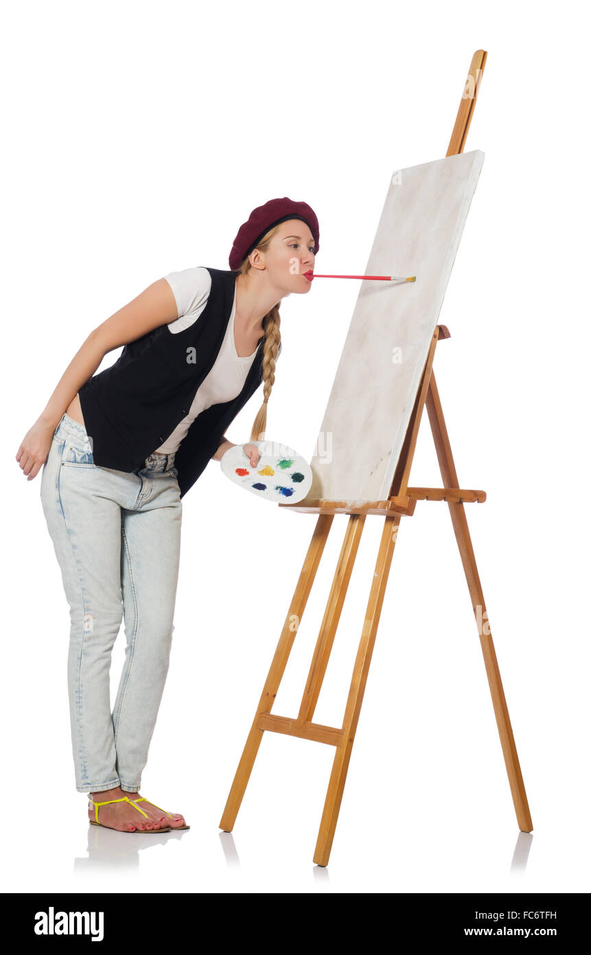 Woman artist isolated on the white - Stock Image