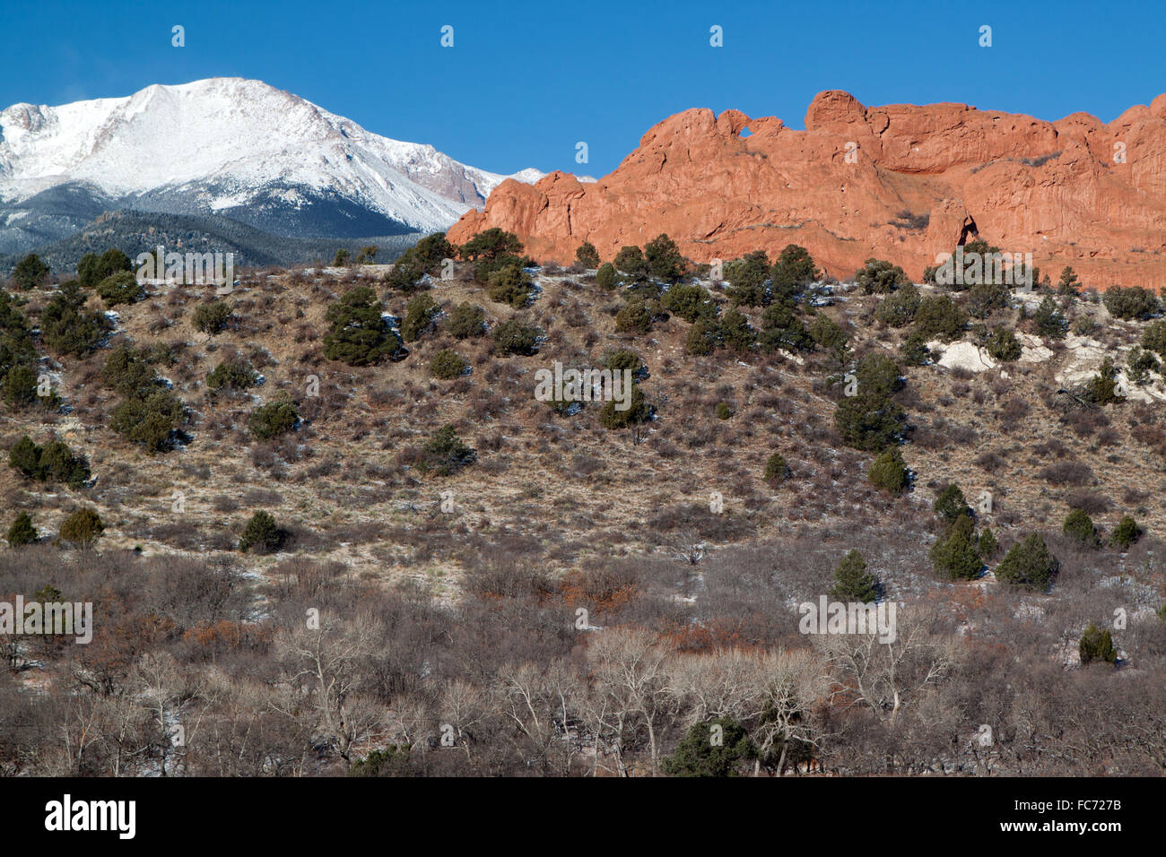 The Kissing Camels formation in Garden of the Gods park and Pikes Peak, early spring - Stock Image