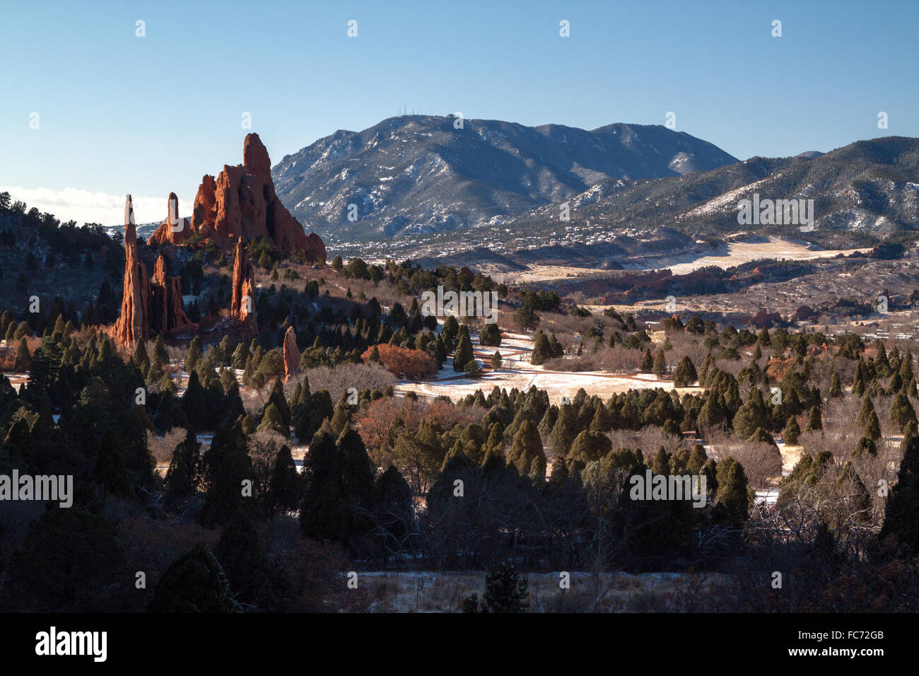 The Three Graces, Cathedral Spires, and Sleeping Giant in Garden of the Gods Park, Colorado Springs, Colorado, in - Stock Image