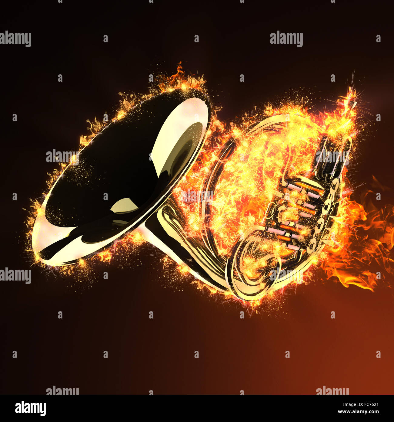 brass trumpet in fire Stock Photo