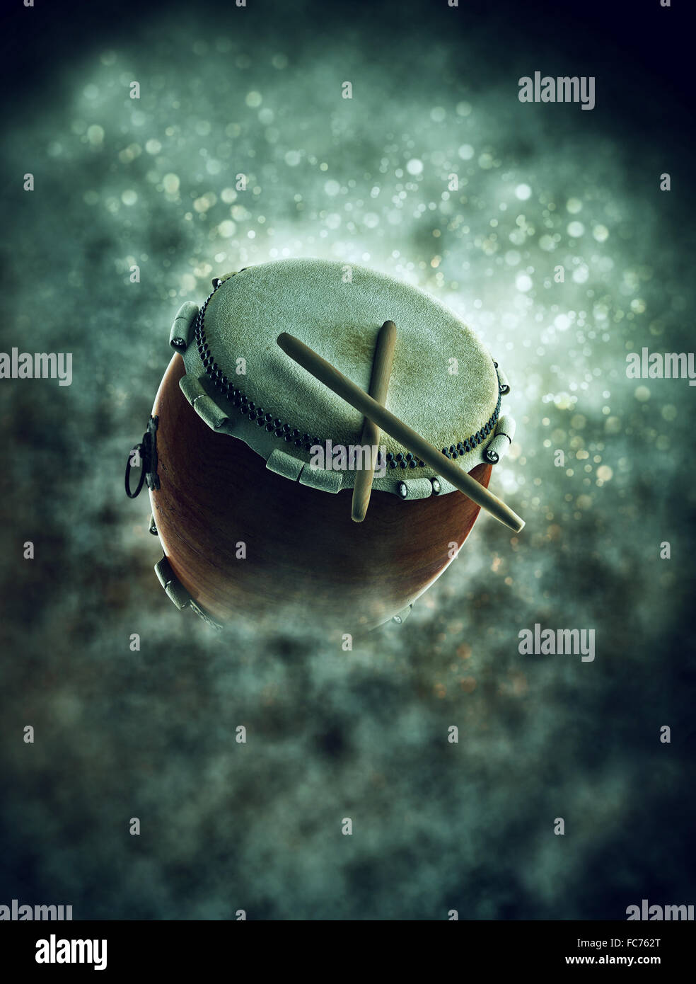 Ramadan drum in smoke with bokeh - Stock Image