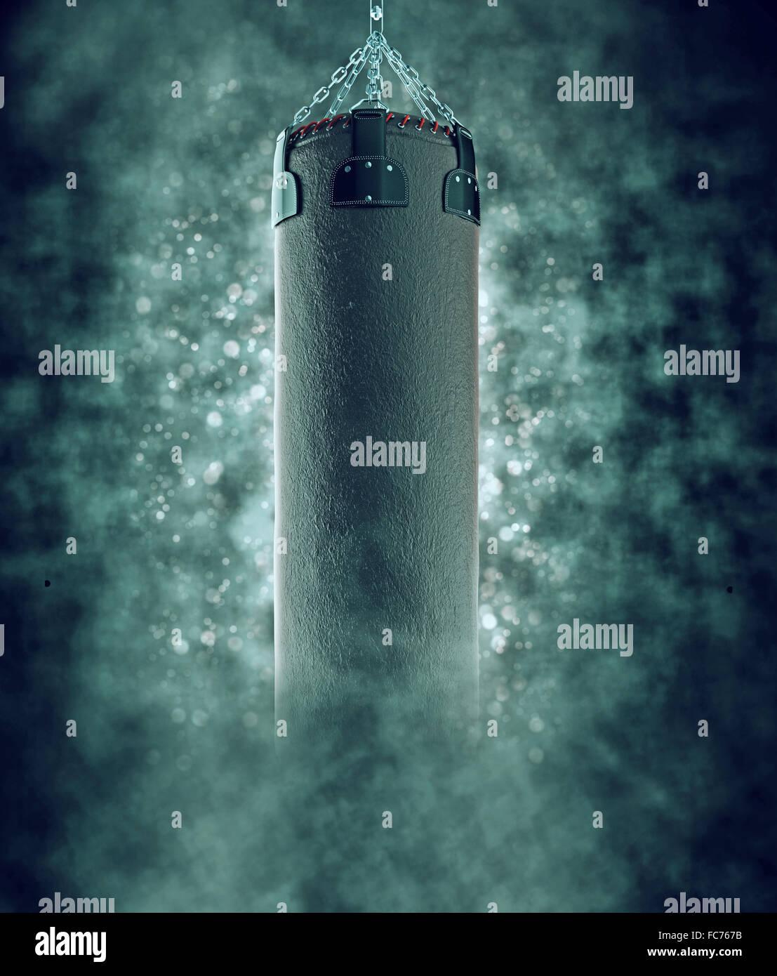 punching bag in smoke with bokeh - Stock Image