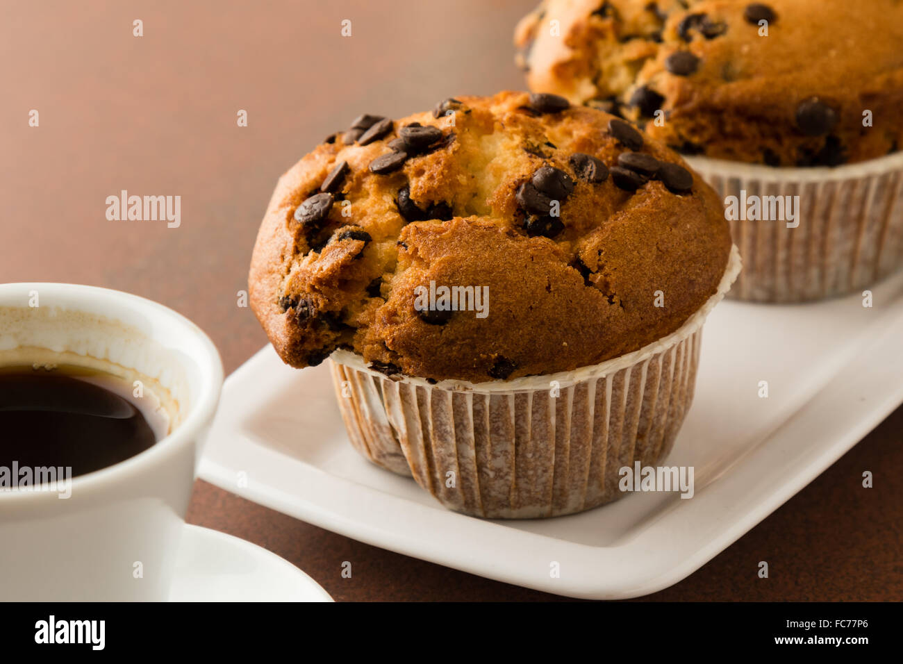 muffins and coffe - Stock Image